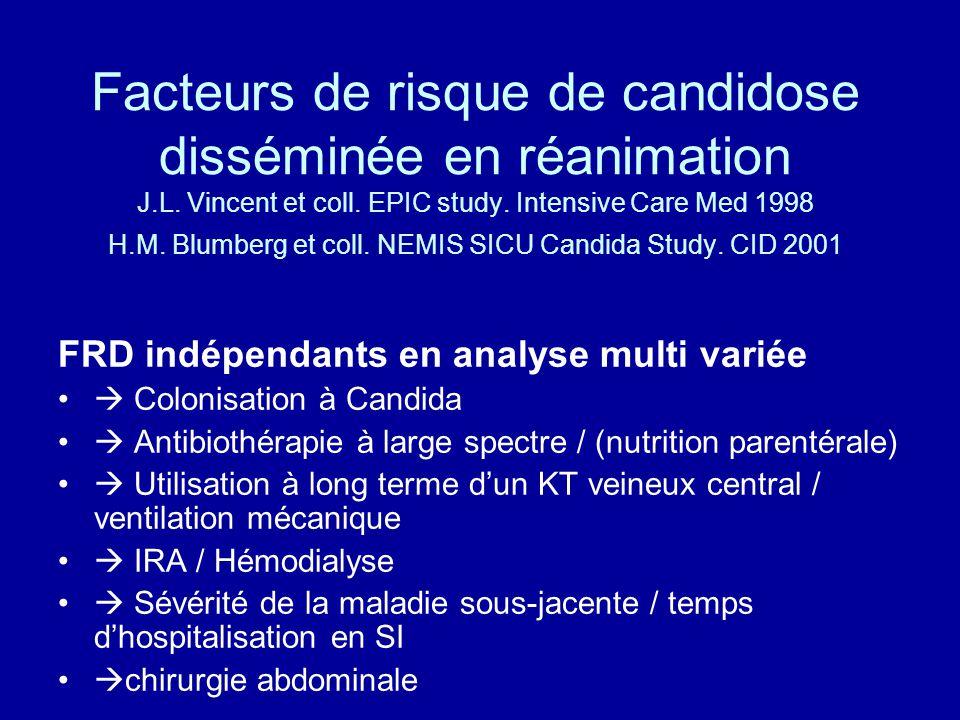 Facteurs de risque de candidose disséminée en réanimation J.L. Vincent et coll. EPIC study. Intensive Care Med 1998 H.M. Blumberg et coll. NEMIS SICU