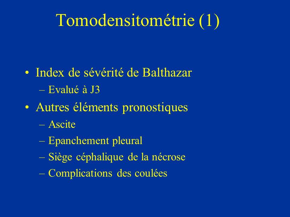 Tomodensitométrie (2) Inflammation pancréatique et péri- pancréatique –Grade A Pancréas Nl (0 Pt) –Grade B Elargissement focal ou diffus (1 Pt) –Grade C Densification de la graisse péri-pancréatique (2 Pts) –Grade D Coulée péri-pancréatique unique (3 Pts) –Grade E Coulées multiples ou bulles de gaz (4 Pts)