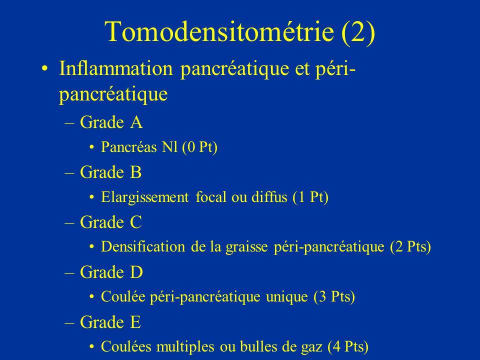 Tomodensitométrie (3) Nécrose pancréatique –Pas de nécrose (0 Pt) –Nécrose < 30 % (2 Pts) –Nécrose 30-50 % (4 Pts) –Nécrose > 50 % (6 Pts)