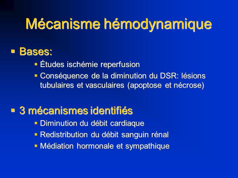 Mécanisme hémodynamique Bases: Bases: Études ischémie reperfusion Études ischémie reperfusion Conséquence de la diminution du DSR: lésions tubulaires