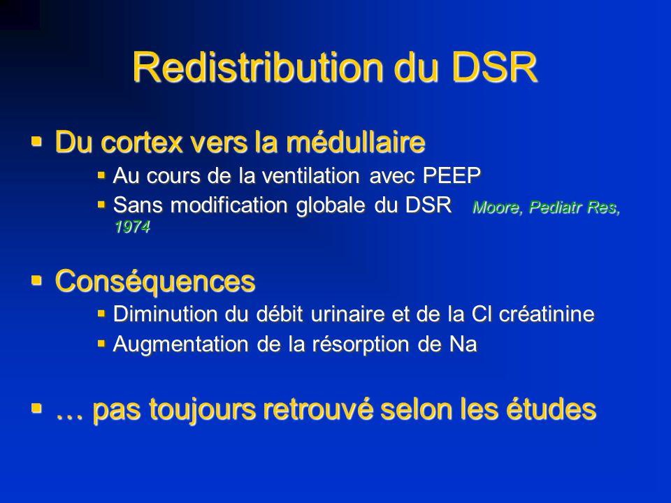 Redistribution du DSR Du cortex vers la médullaire Du cortex vers la médullaire Au cours de la ventilation avec PEEP Au cours de la ventilation avec P