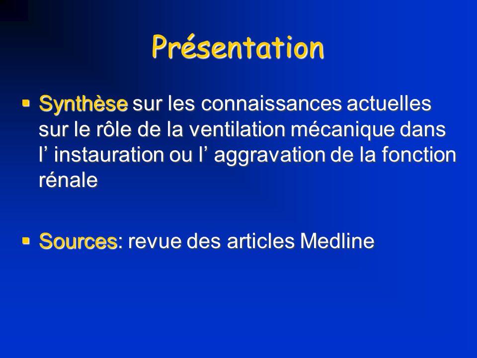 Présentation Synthèse sur les connaissances actuelles sur le rôle de la ventilation mécanique dans l instauration ou l aggravation de la fonction réna