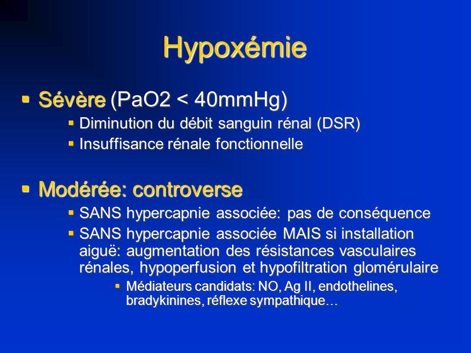 Hypoxémie Sévère (PaO2 < 40mmHg) Sévère (PaO2 < 40mmHg) Diminution du débit sanguin rénal (DSR) Diminution du débit sanguin rénal (DSR) Insuffisance r