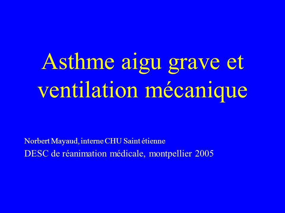 Asthme aigu grave et ventilation mécanique Norbert Mayaud, interne CHU Saint étienne DESC de réanimation médicale, montpellier 2005