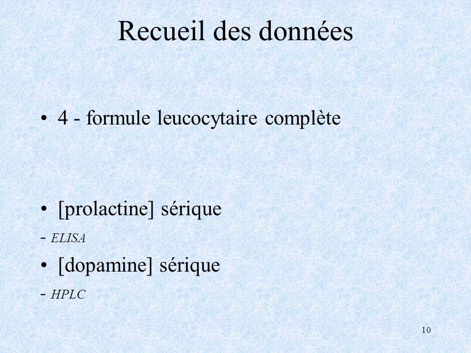 10 Recueil des données 4 - formule leucocytaire complète [prolactine] sérique - ELISA [dopamine] sérique - HPLC