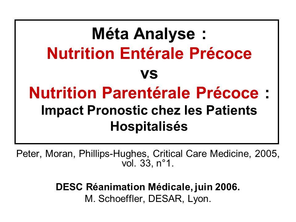 Méta Analyse : Nutrition Entérale Précoce vs Nutrition Parentérale Précoce : Impact Pronostic chez les Patients Hospitalisés Peter, Moran, Phillips-Hughes, Critical Care Medicine, 2005, vol.