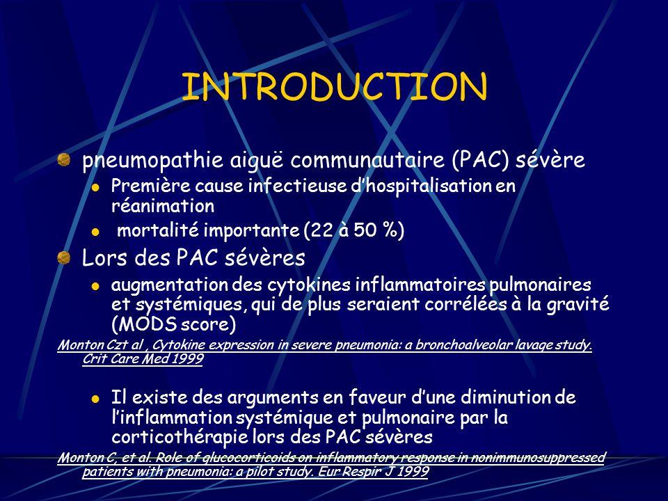 INTRODUCTION pneumopathie aiguë communautaire (PAC) sévère Première cause infectieuse dhospitalisation en réanimation mortalité importante (22 à 50 %) Lors des PAC sévères augmentation des cytokines inflammatoires pulmonaires et systémiques, qui de plus seraient corrélées à la gravité (MODS score) Monton Czt al, Cytokine expression in severe pneumonia: a bronchoalveolar lavage study.