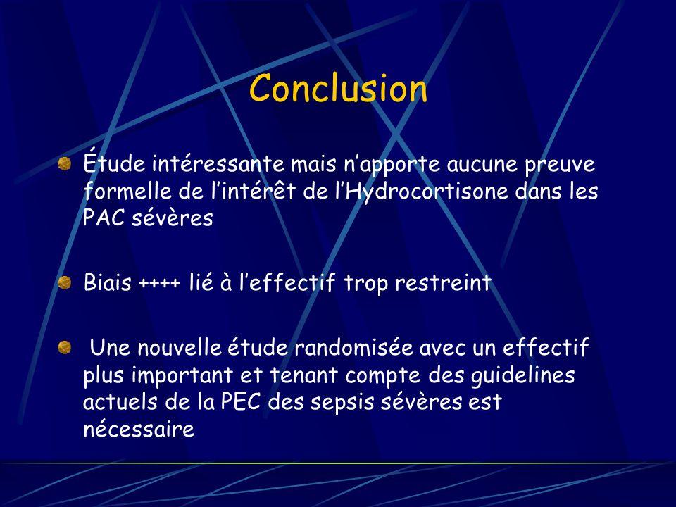 Conclusion Étude intéressante mais napporte aucune preuve formelle de lintérêt de lHydrocortisone dans les PAC sévères Biais ++++ lié à leffectif trop restreint Une nouvelle étude randomisée avec un effectif plus important et tenant compte des guidelines actuels de la PEC des sepsis sévères est nécessaire