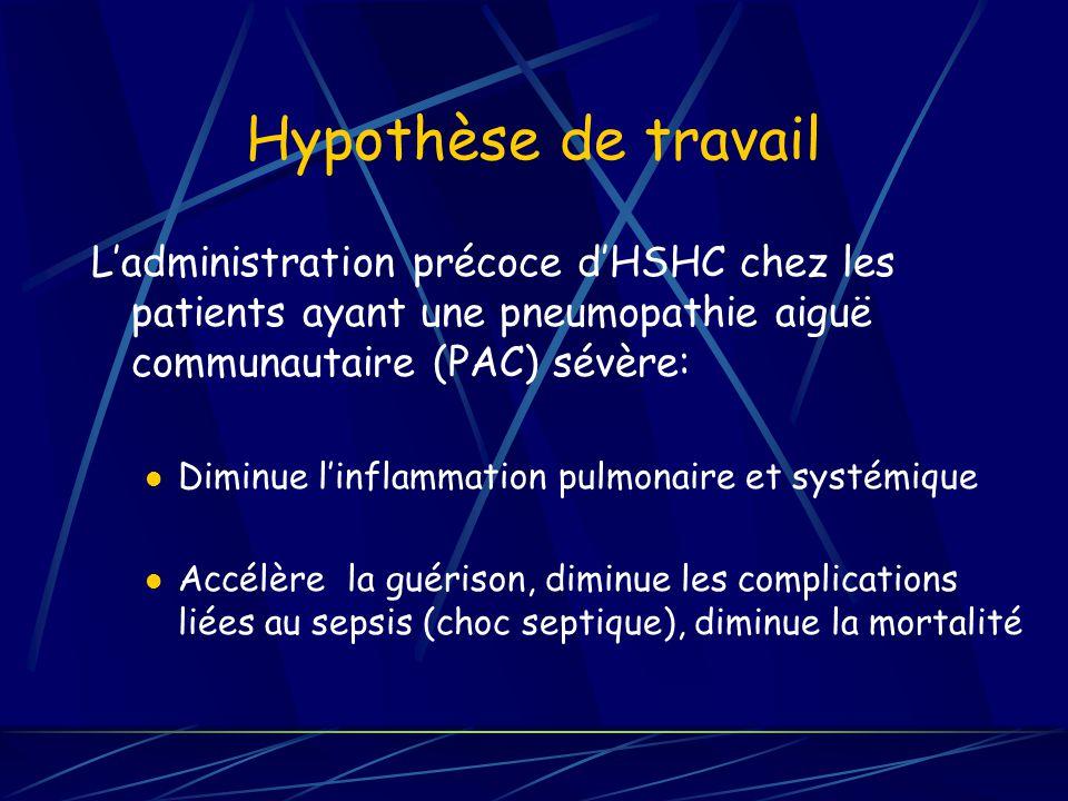 Hypothèse de travail Ladministration précoce dHSHC chez les patients ayant une pneumopathie aiguë communautaire (PAC) sévère: Diminue linflammation pulmonaire et systémique Accélère la guérison, diminue les complications liées au sepsis (choc septique), diminue la mortalité