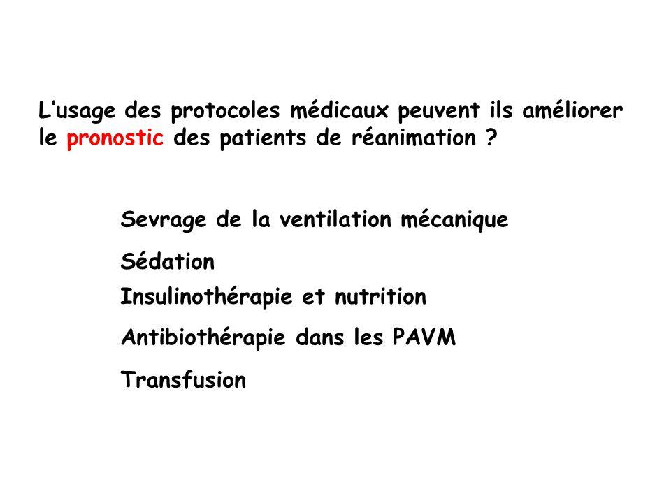 Lusage des protocoles médicaux peuvent ils améliorer le pronostic des patients de réanimation ? Sevrage de la ventilation mécanique Sédation Insulinot