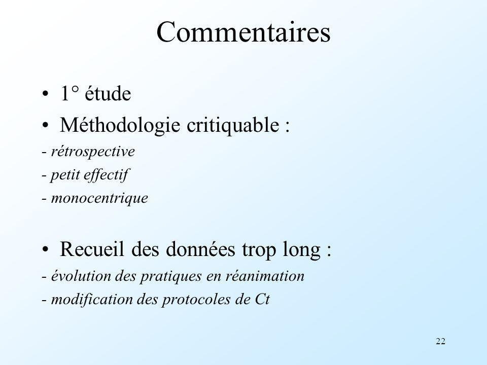 22 Commentaires 1° étude Méthodologie critiquable : - rétrospective - petit effectif - monocentrique Recueil des données trop long : - évolution des p