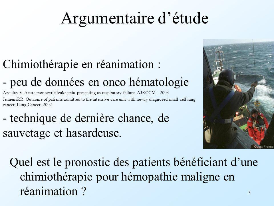 5 Argumentaire détude Quel est le pronostic des patients bénéficiant dune chimiothérapie pour hémopathie maligne en réanimation ? Chimiothérapie en ré