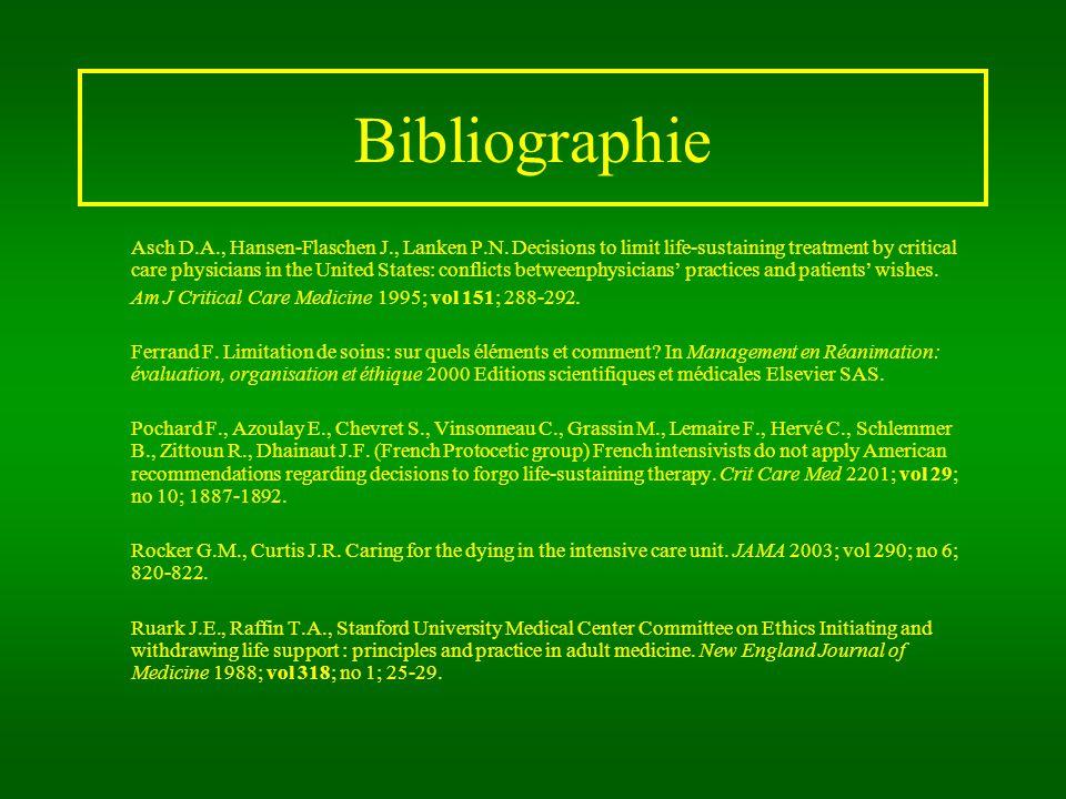 Bibliographie Asch D.A., Hansen-Flaschen J., Lanken P.N.