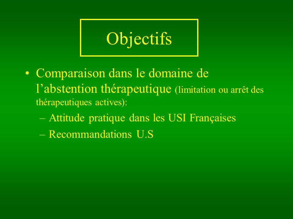 Objectifs Comparaison dans le domaine de labstention thérapeutique (limitation ou arrêt des thérapeutiques actives): –Attitude pratique dans les USI Françaises –Recommandations U.S