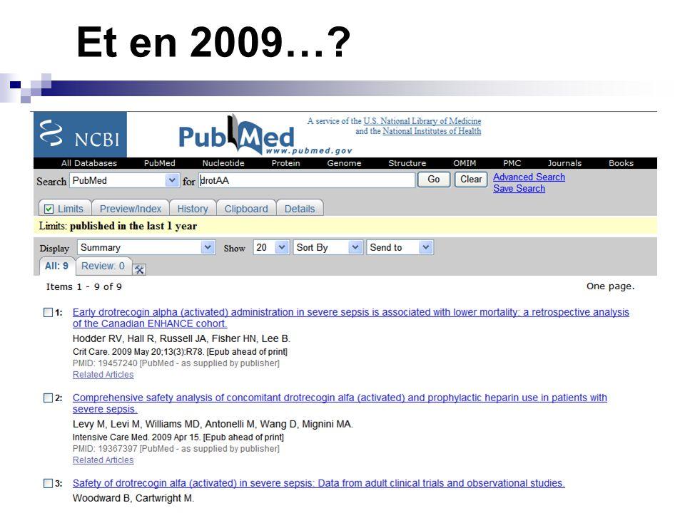 Et en 2009…?