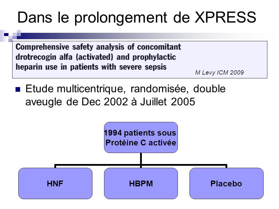 Dans le prolongement de XPRESS Etude multicentrique, randomisée, double aveugle de Dec 2002 à Juillet 2005 M Levy ICM 2009 1994 patients sous Protéine