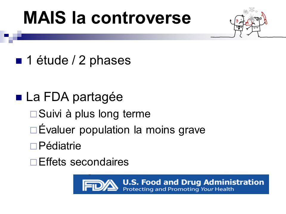 MAIS la controverse 1 étude / 2 phases La FDA partagée Suivi à plus long terme Évaluer population la moins grave Pédiatrie Effets secondaires