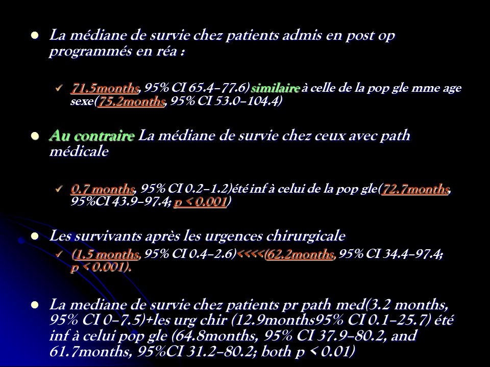 La médiane de survie chez patients admis en post op programmés en réa : La médiane de survie chez patients admis en post op programmés en réa : 71.5mo