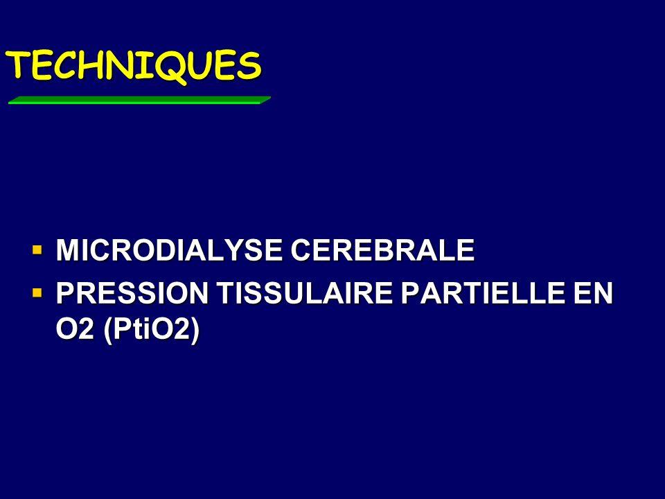 MICRODIALYSE CEREBRALE Microcathéter (0.62mm) perfusé à 0.1-2 l/min le plus souvent inséré en zone de pénombre Microcathéter (0.62mm) perfusé à 0.1-2 l/min le plus souvent inséré en zone de pénombre Un cathéter sous-cutané de référence Un cathéter sous-cutané de référence Lésions liées à linsertion minimes Lésions liées à linsertion minimes Défaut de résultat après quelques jours du fait de ladhésion des cellules gliales sur le KT Défaut de résultat après quelques jours du fait de ladhésion des cellules gliales sur le KT Advanced monitoring in the neurology ICU: microdialysis, AJ Jonhnston, Current opinion in critical care 2002, 8:121-127