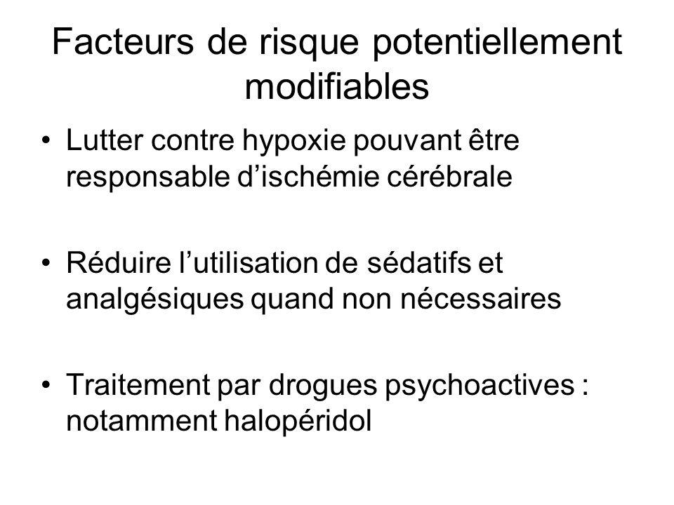 Facteurs de risque potentiellement modifiables Lutter contre hypoxie pouvant être responsable dischémie cérébrale Réduire lutilisation de sédatifs et analgésiques quand non nécessaires Traitement par drogues psychoactives : notamment halopéridol
