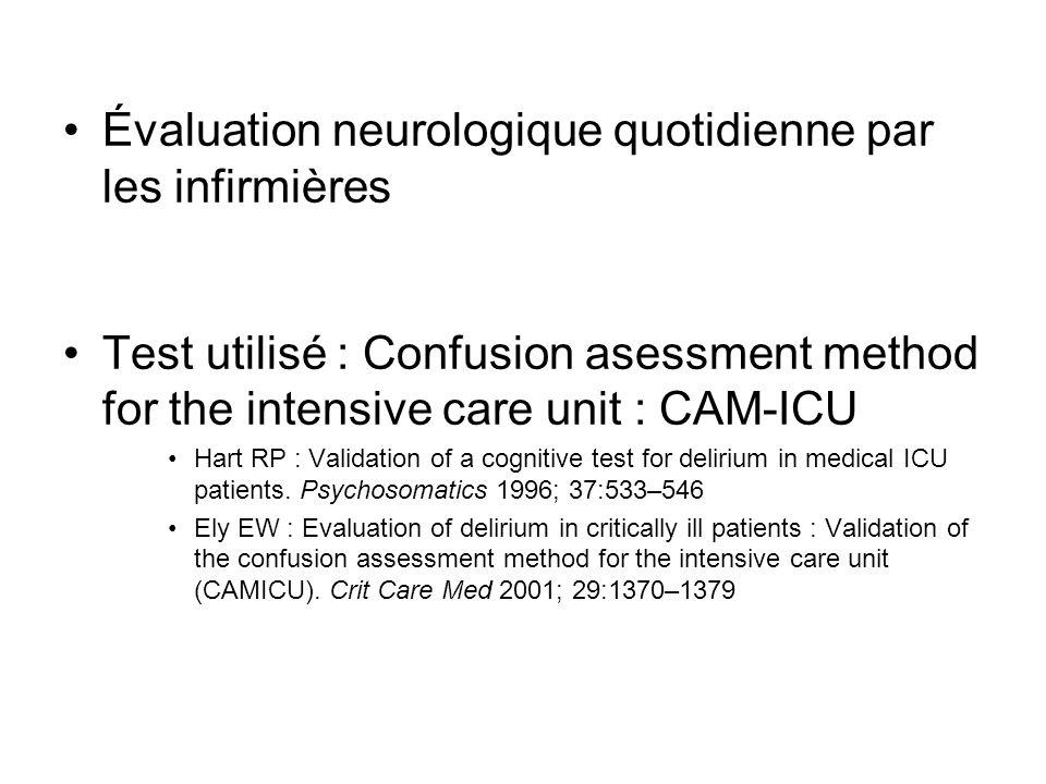Évaluation neurologique quotidienne par les infirmières Test utilisé : Confusion asessment method for the intensive care unit : CAM-ICU Hart RP : Validation of a cognitive test for delirium in medical ICU patients.