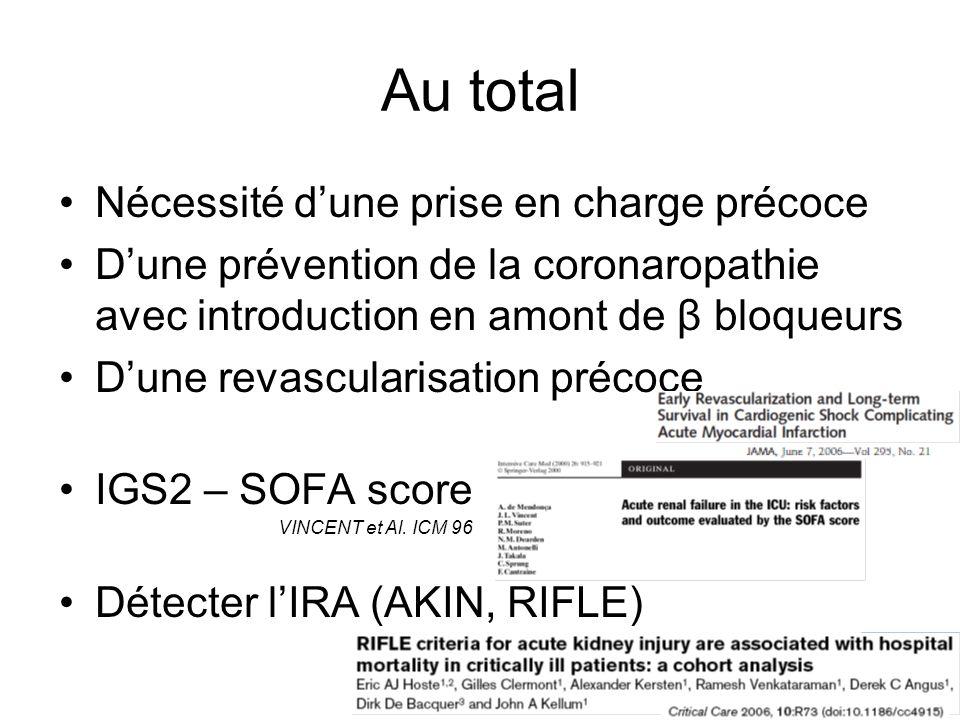 Au total Nécessité dune prise en charge précoce Dune prévention de la coronaropathie avec introduction en amont de β bloqueurs Dune revascularisation