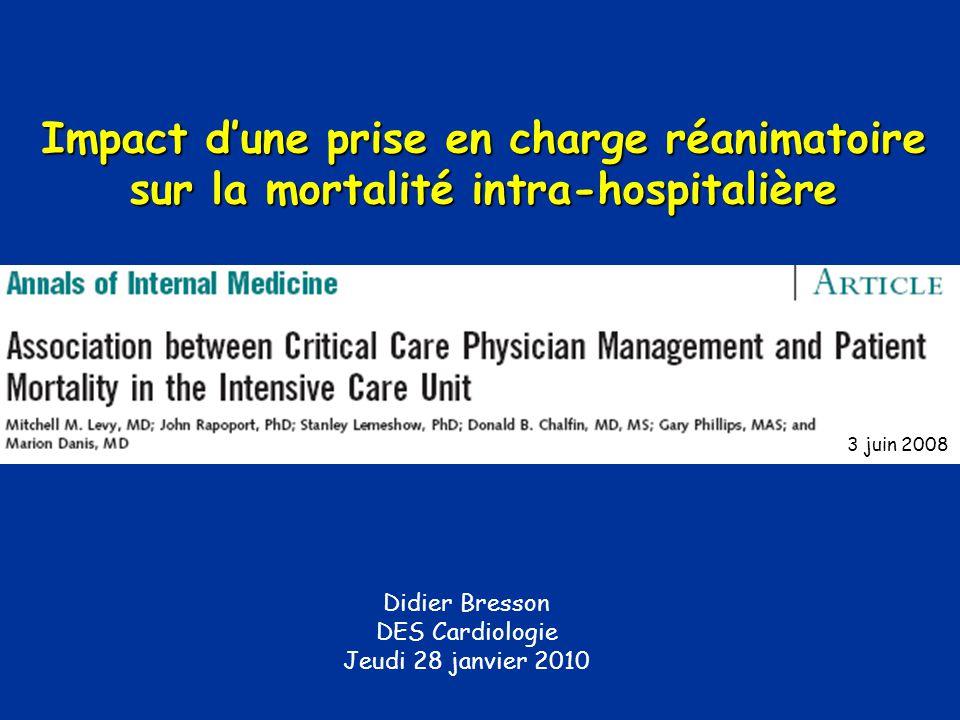 Didier Bresson DES Cardiologie Jeudi 28 janvier 2010 3 juin 2008 Impact dune prise en charge réanimatoire sur la mortalité intra-hospitalière