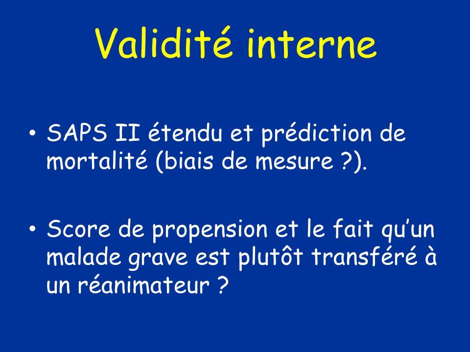 SAPS II étendu et prédiction de mortalité (biais de mesure ?). Score de propension et le fait quun malade grave est plutôt transféré à un réanimateur