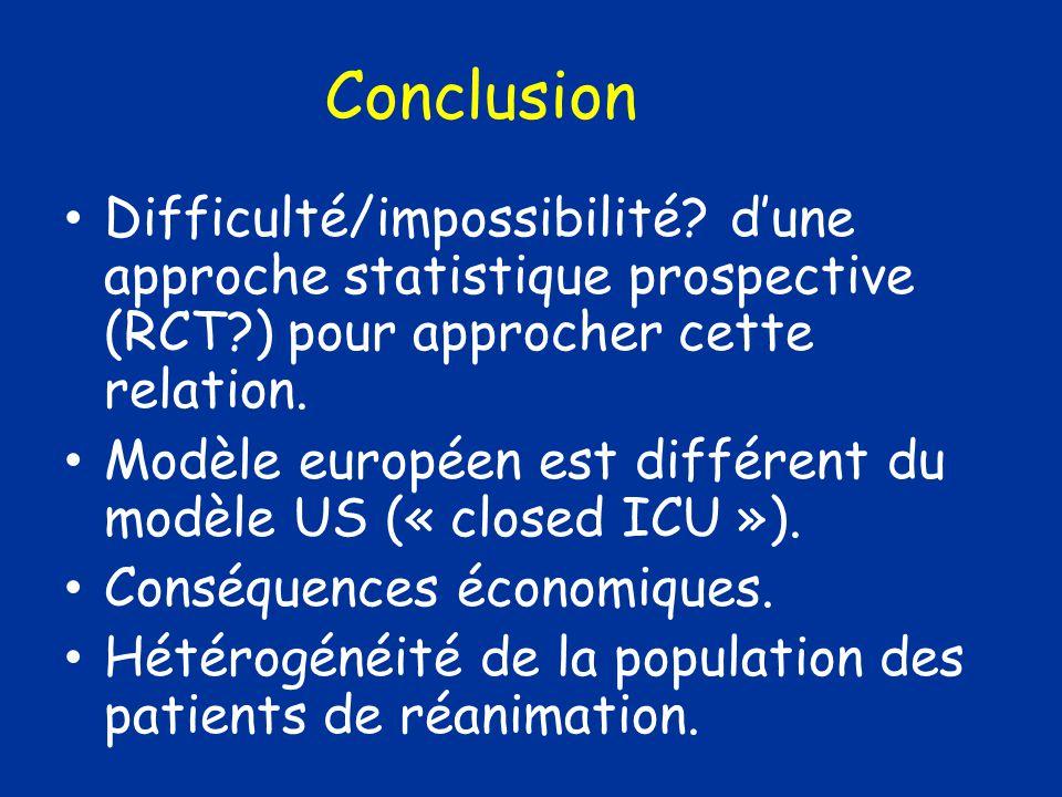 Difficulté/impossibilité? dune approche statistique prospective (RCT?) pour approcher cette relation. Modèle européen est différent du modèle US (« cl