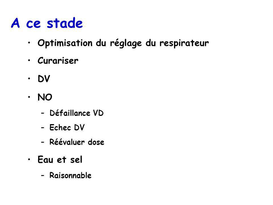 A ce stade Optimisation du réglage du respirateur Curariser DV NO –Défaillance VD –Echec DV –Réévaluer dose Eau et sel –Raisonnable