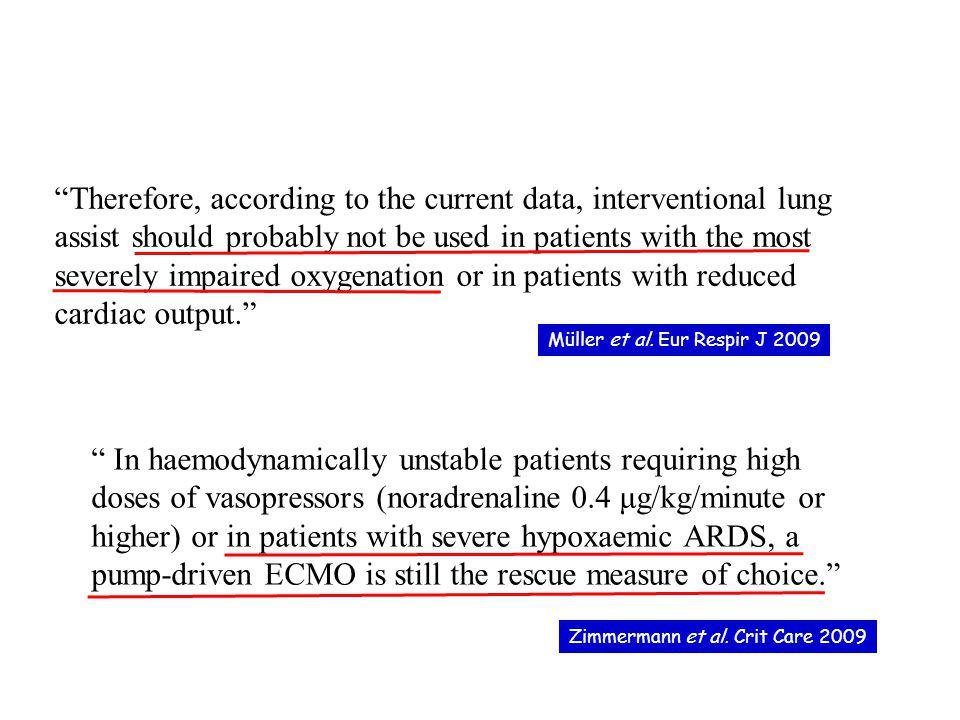 Therefore, according to the current data, interventional lung assist should probably not be used in patients with the most severely impaired oxygenati