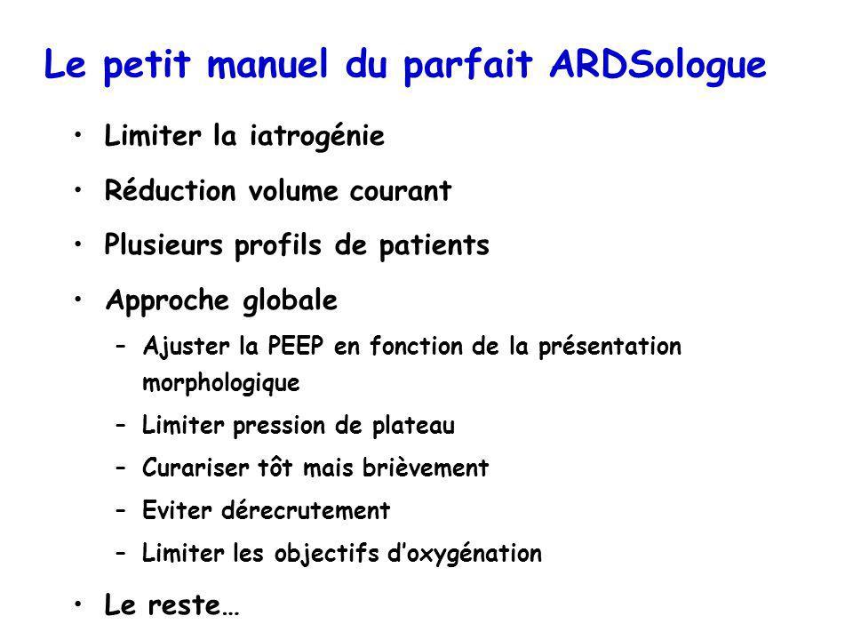 Le petit manuel du parfait ARDSologue Limiter la iatrogénie Réduction volume courant Plusieurs profils de patients Approche globale –Ajuster la PEEP e
