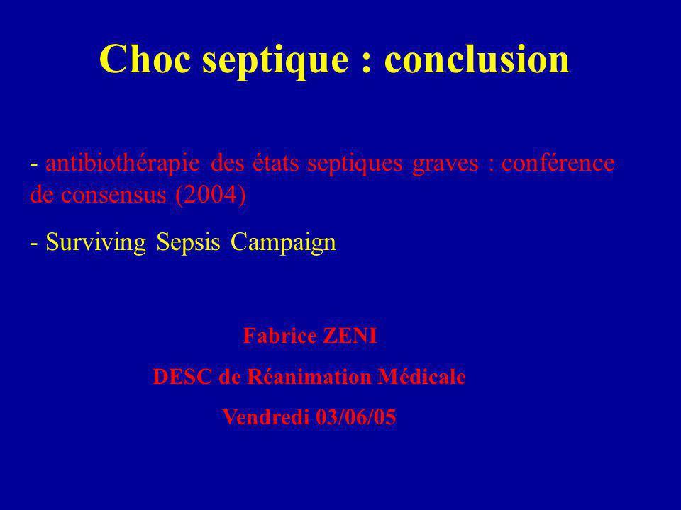 Choc septique : conclusion - antibiothérapie des états septiques graves : conférence de consensus (2004) - Surviving Sepsis Campaign Fabrice ZENI DESC de Réanimation Médicale Vendredi 03/06/05