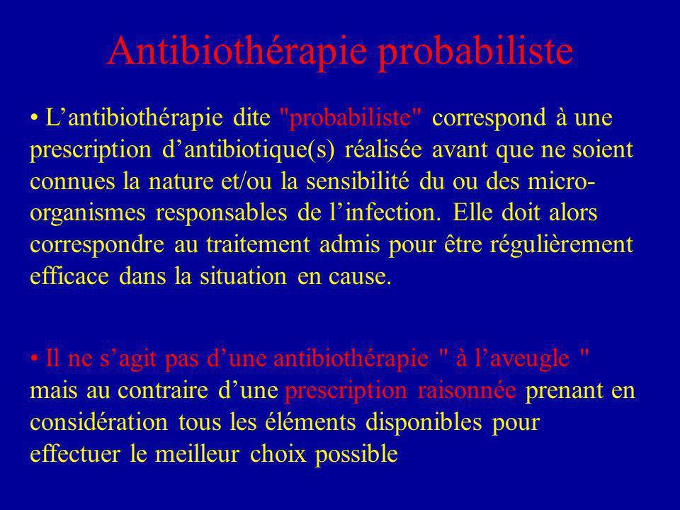 Antibiothérapie probabiliste Lantibiothérapie dite probabiliste correspond à une prescription dantibiotique(s) réalisée avant que ne soient connues la nature et/ou la sensibilité du ou des micro- organismes responsables de linfection.
