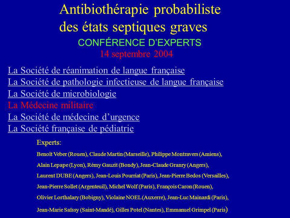 Antibiothérapie probabiliste des états septiques graves CONFÉRENCE DEXPERTS 14 septembre 2004 La Société de réanimation de langue française La Société
