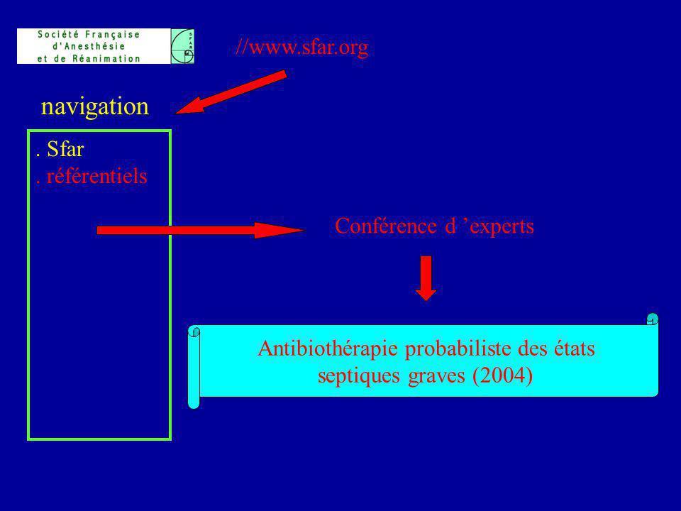 //www.sfar.org. Sfar. référentiels navigation Conférence d experts Antibiothérapie probabiliste des états septiques graves (2004)