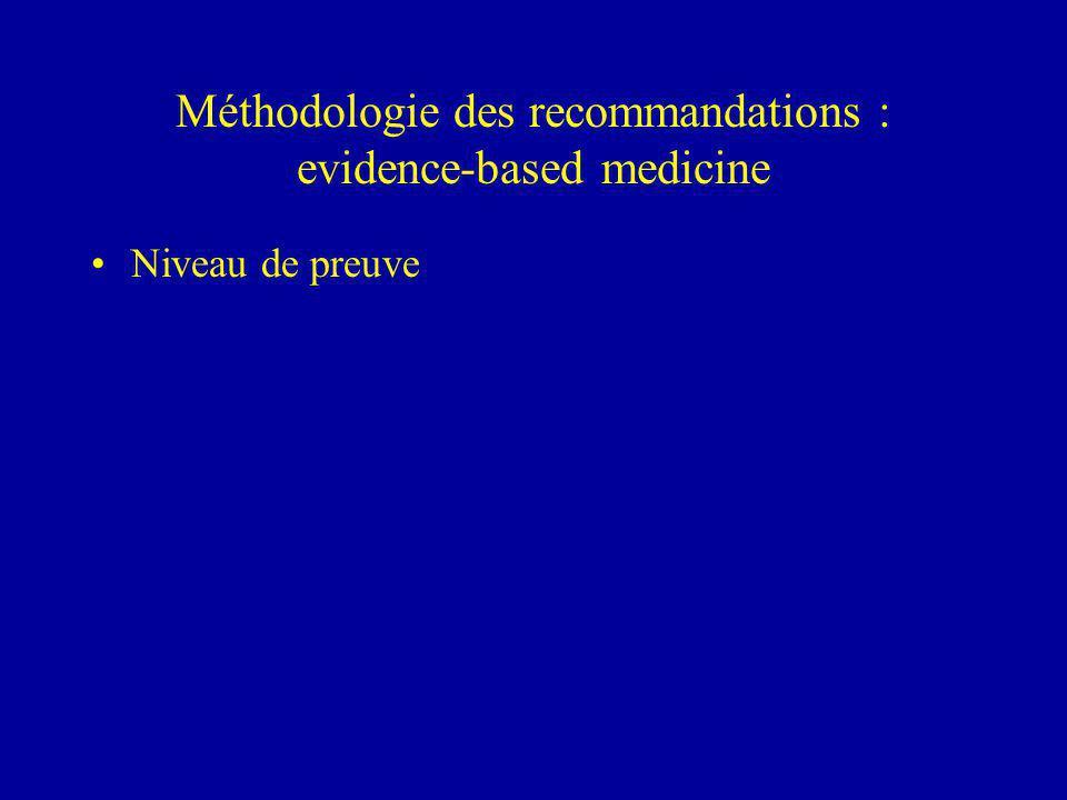 Méthodologie des recommandations : evidence-based medicine Niveau de preuve