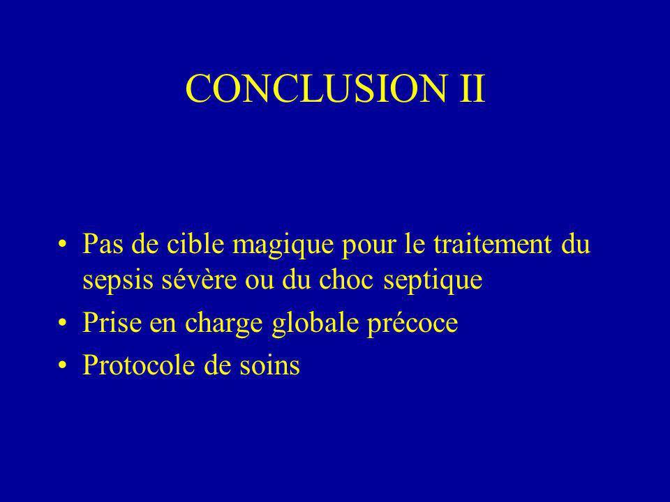 CONCLUSION II Pas de cible magique pour le traitement du sepsis sévère ou du choc septique Prise en charge globale précoce Protocole de soins