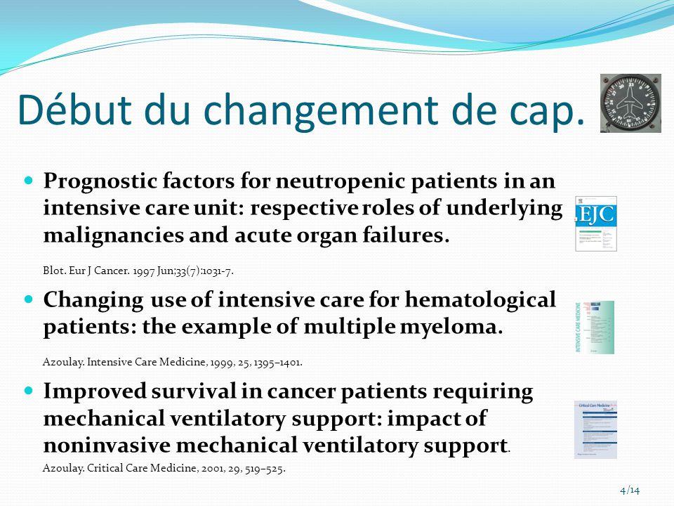 Début du changement de cap. Prognostic factors for neutropenic patients in an intensive care unit: respective roles of underlying malignancies and acu