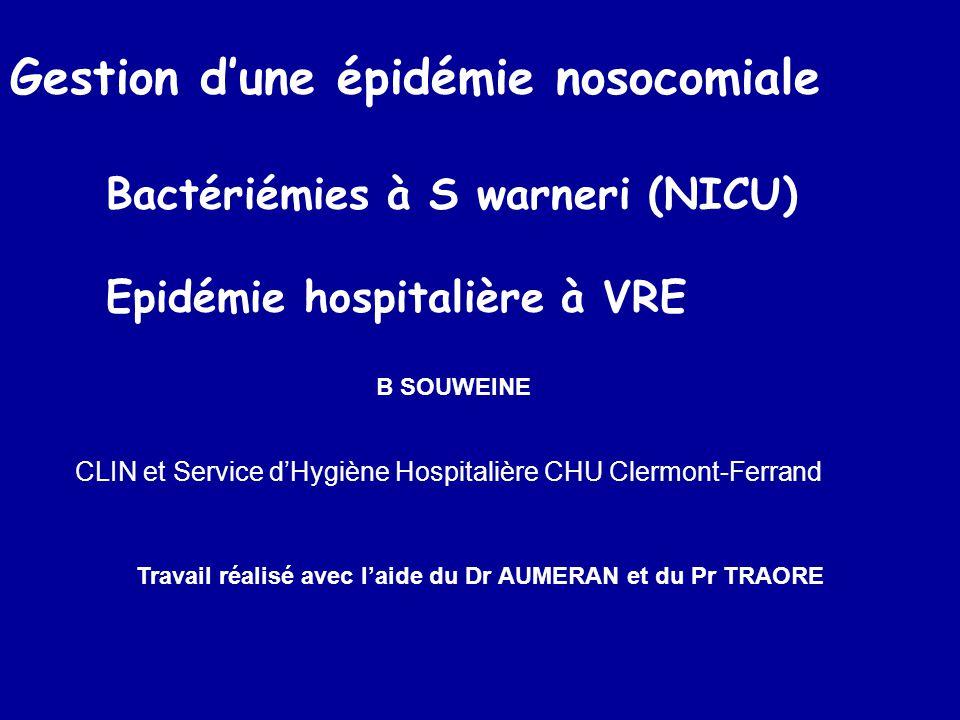 Définir et compter les cas Cas –Prélèvement positif à S warneri –pulsotype w1, 2 ou 3 Isolé sur HC, poche ou autocontrôle Patient infecté (prélèvement clinique) Poche infectée (autocontrôle ou poche)