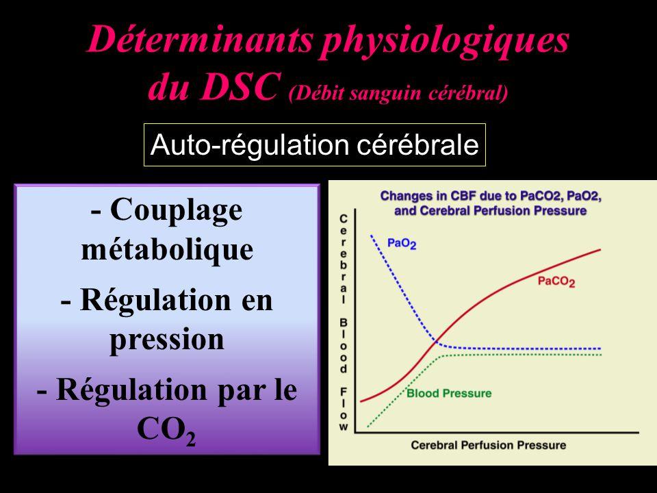 Déterminants physiologiques du DSC (Débit sanguin cérébral) Auto-régulation cérébrale - Couplage métabolique - Régulation en pression - Régulation par le CO 2 - Couplage métabolique - Régulation en pression - Régulation par le CO 2