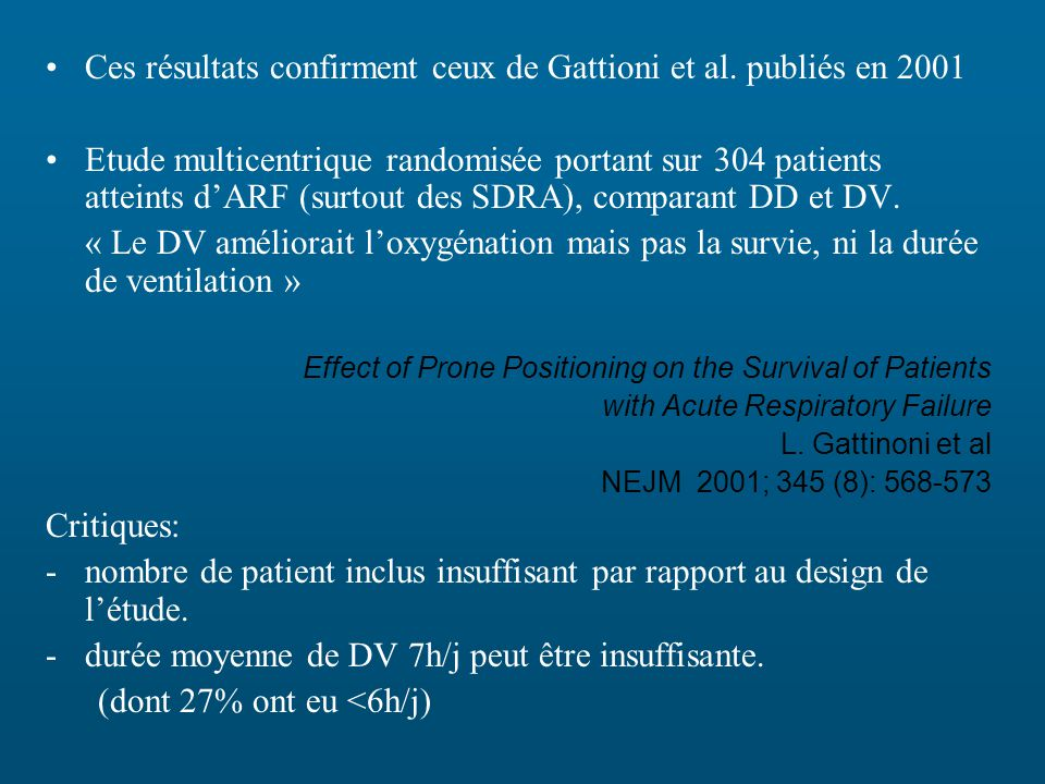 Ces résultats confirment ceux de Gattioni et al.