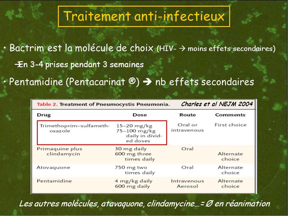 Bactrim est la molécule de choix (HIV- moins effets secondaires) En 3-4 prises pendant 3 semaines Pentamidine (Pentacarinat ®) nb effets secondaires Les autres molécules, atavaquone, clindamycine…= Ø en réanimation Traitement anti-infectieux Charles et al NEJM 2004