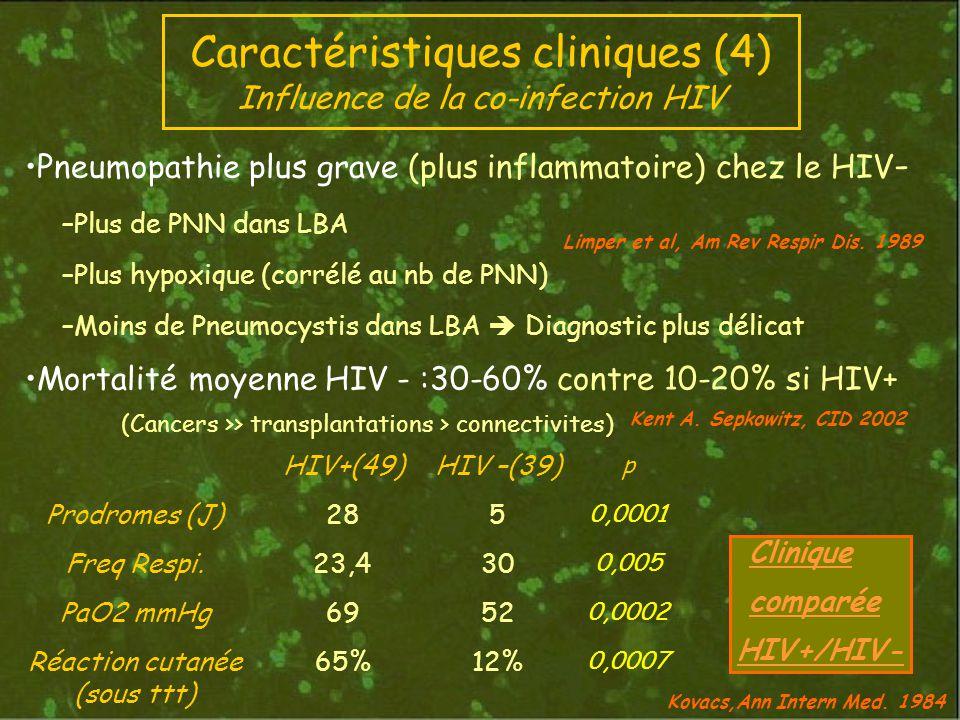 Pneumopathie plus grave (plus inflammatoire) chez le HIV - –Plus de PNN dans LBA –Plus hypoxique (corrélé au nb de PNN) –Moins de Pneumocystis dans LBA Diagnostic plus délicat Mortalité moyenne HIV - :30-60% contre 10-20% si HIV+ (Cancers >> transplantations > connectivites) Clinique comparée HIV+/HIV- Limper et al, Am Rev Respir Dis.