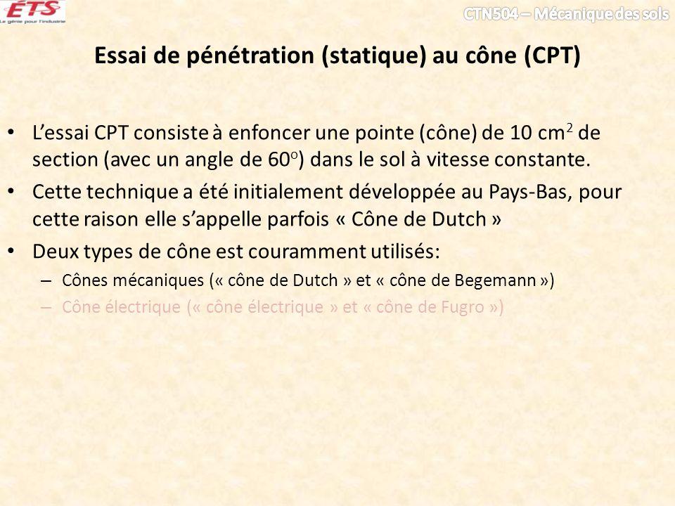 Essai de pénétration (statique) au cône (CPT) Lessai CPT consiste à enfoncer une pointe (cône) de 10 cm 2 de section (avec un angle de 60 o ) dans le