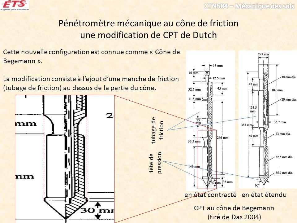 Pénétromètre mécanique au cône de friction une modification de CPT de Dutch Cette nouvelle configuration est connue comme « Cône de Begemann ». La mod