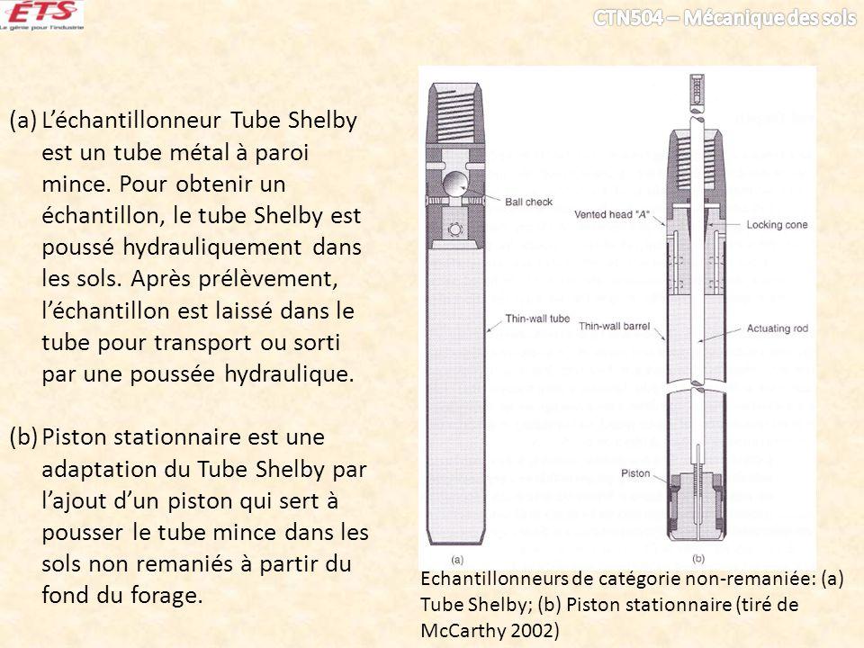 Échantillonneurs de catégorie non-remaniée: (a) Tube Shelby; (b) Piston stationnaire (tiré de McCarthy 2002) (a)Léchantillonneur Tube Shelby est un tu