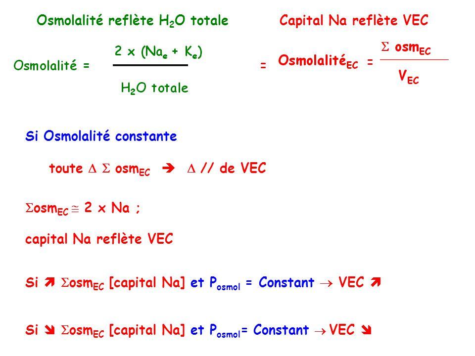 Si Osmolalité constante toute osm EC // de VEC Osmolalité reflète H 2 O totaleCapital Na reflète VEC osm EC 2 x Na ; capital Na reflète VEC Si osm EC