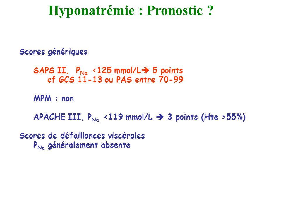 Scores génériques SAPS II, P Na <125 mmol/L 5 points cf GCS 11-13 ou PAS entre 70-99 MPM : non APACHE III, P Na 55%) Scores de défaillances viscérales