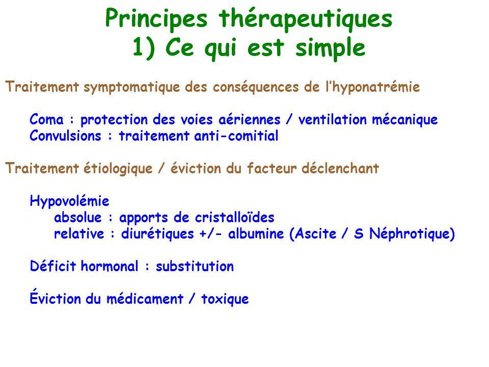 Principes thérapeutiques 1) Ce qui est simple Traitement symptomatique des conséquences de lhyponatrémie Coma : protection des voies aériennes / venti